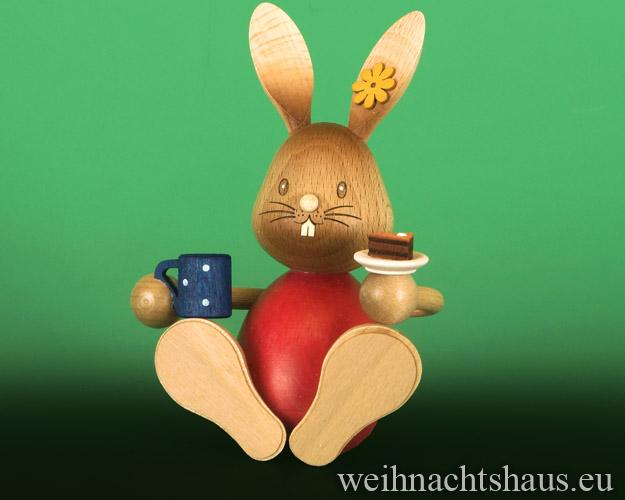 Seiffen Weihnachtshaus - Stupsi       Osterhase- Kuhnert  mit Kaffee und Kuchen Neu 2019 - Bild 1