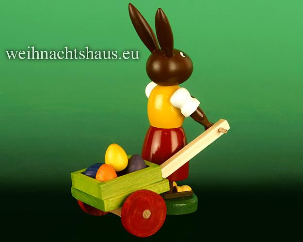 Seiffen Weihnachtshaus - Osterhase  10cm  mit Eierkarre Neu 2020 - Bild 2