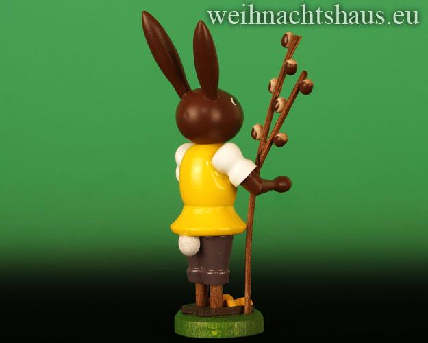 Seiffen Weihnachtshaus - Osterhase 10cm mit Weidenkätzchen Neu 2018 - Bild 2