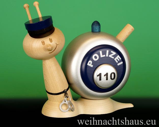 Seiffen Weihnachtshaus - <!--11-->Räucherschnecke Erzgebirge Polizeischnecke - Bild 1