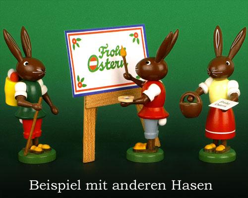 Seiffen Weihnachtshaus - Osterhase 10cm mit Maltafel - Bild 2