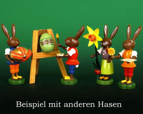 Seiffen Weihnachtshaus - Osterhase 10cm mit Narzisse - Bild 2
