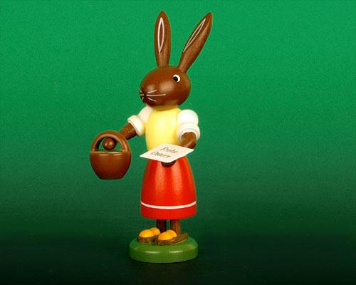 Seiffen Weihnachtshaus - Osterhase 10cm mit Handkorb - Bild 1