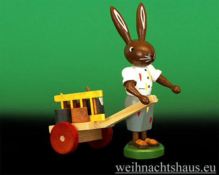 Seiffen Weihnachtshaus - Osterhase 10cm Hasenfrau Malerwagen - Bild 1