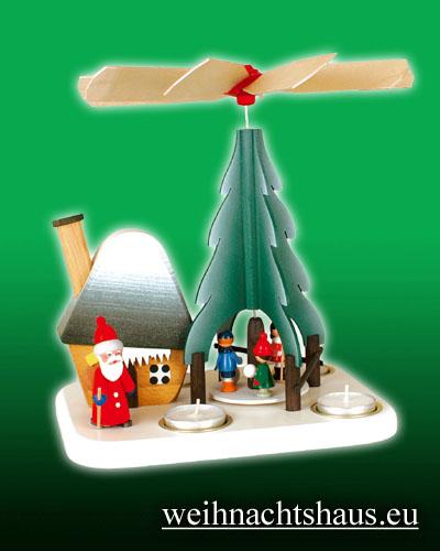Seiffen Weihnachtshaus - Teelichtpyramide  Weihnachtsmann mit Rauchhaus - Bild 1