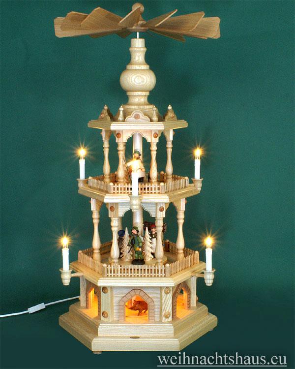 Seiffen Weihnachtshaus - 3 Stock Zaunpyramide 88 cm mit gedrechselten Erzgebirgsfiguren - Bild 1