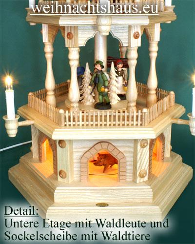 Seiffen Weihnachtshaus - 3 Stock Zaunpyramide 88 cm mit gedrechselten Erzgebirgsfiguren - Bild 2