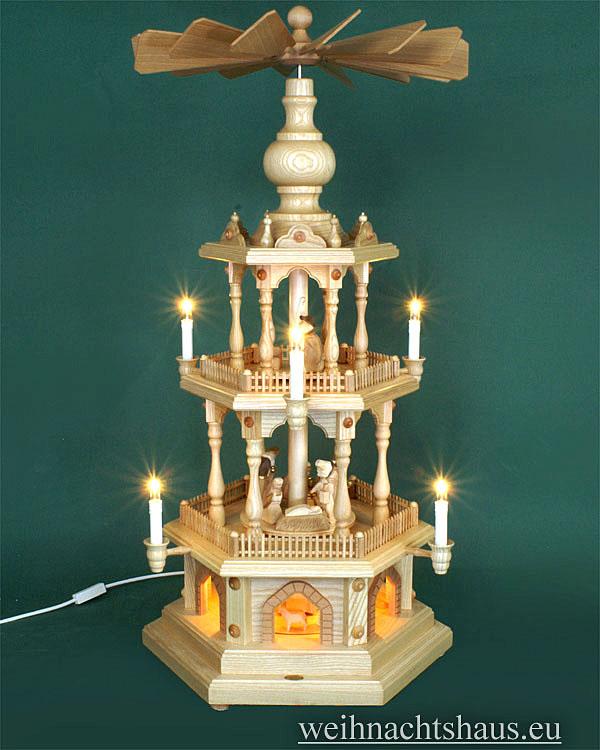 Seiffen Weihnachtshaus - 3 Stock Zaunpyramide 88 cm mit Krippefiguren braun - Bild 1
