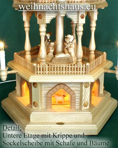 Seiffen Weihnachtshaus - Weihnachtspyramide  88 cm Pyramide elektrisch beleuchtet mit geschnitzten Krippefiguren - Bild 2