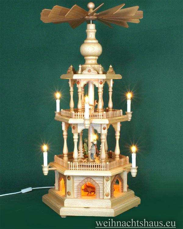 Seiffen Weihnachtshaus - 3 Stock Zaunpyramide 88 cm mit geschnitzten Waldfiguren - Bild 1