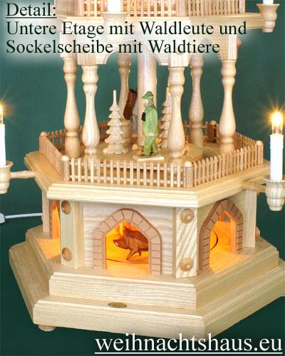 Seiffen Weihnachtshaus - 3 Stock Zaunpyramide 88 cm mit geschnitzten Waldfiguren - Bild 2