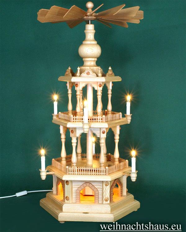 Seiffen Weihnachtshaus - 3 Stock Zaunpyramide 88 cm ohne Figuren mit Drehscheibe im Sockel - Bild 1