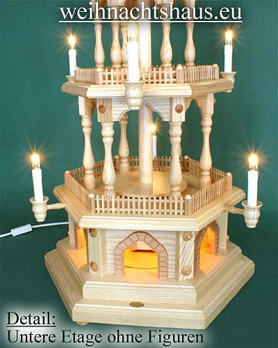 Seiffen Weihnachtshaus - 3 Stock Zaunpyramide 88 cm ohne Figuren mit Drehscheibe im Sockel - Bild 2