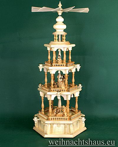 Seiffen Weihnachtshaus - 3 Stock Barockpyramide 112 cm mit Krippefiguren braun - Bild 1