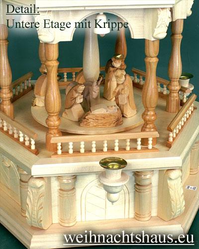 Seiffen Weihnachtshaus - 3 Stock Barockpyramide 112 cm mit Krippefiguren braun - Bild 2