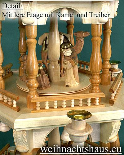 Seiffen Weihnachtshaus - 3 Stock Barockpyramide 112 cm mit Krippefiguren braun - Bild 3
