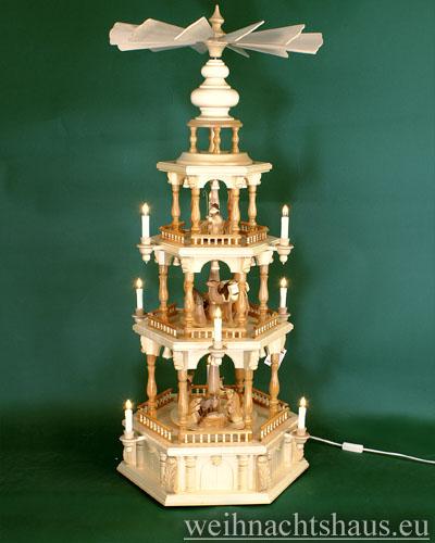 Seiffen Weihnachtshaus - Weihnachtspyramide 112 cm Pyramide mit elektrischer Beleuchtung mit Krippefiguren braun - Bild 1