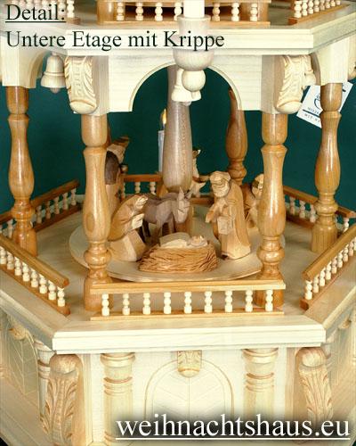 Seiffen Weihnachtshaus - Weihnachtspyramide 112 cm Pyramide mit elektrischer Beleuchtung mit Krippefiguren braun - Bild 2