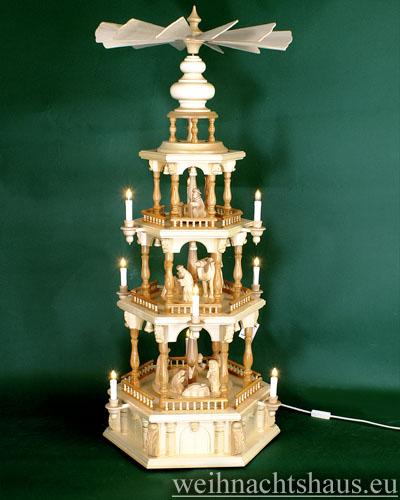 Seiffen Weihnachtshaus - Weihnachtspyramide 112 cm Pyramide elektrisch beleuchtet Barockpyramide Krippefiguren natur - Bild 1