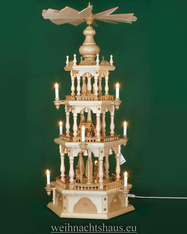 Seiffen Weihnachtshaus - 3 Stock Zaunpyramide 109 cm mit Waldfiguren und Spanbäume - Bild 1