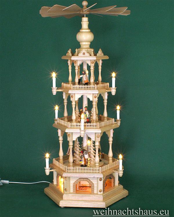 Seiffen Weihnachtshaus - 4 Stock Zaunpyramide 111 cm mit Erzgebirgsfiguren - Bild 1