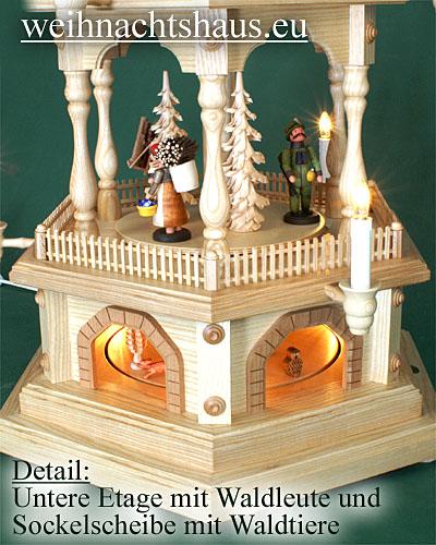 Seiffen Weihnachtshaus - 4 Stock Zaunpyramide 111 cm mit Erzgebirgsfiguren - Bild 2