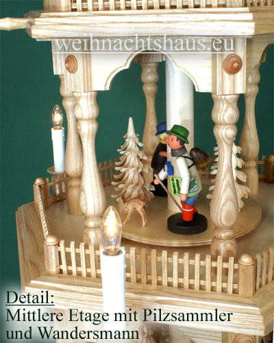 Seiffen Weihnachtshaus - 4 Stock Zaunpyramide 111 cm mit Erzgebirgsfiguren - Bild 3
