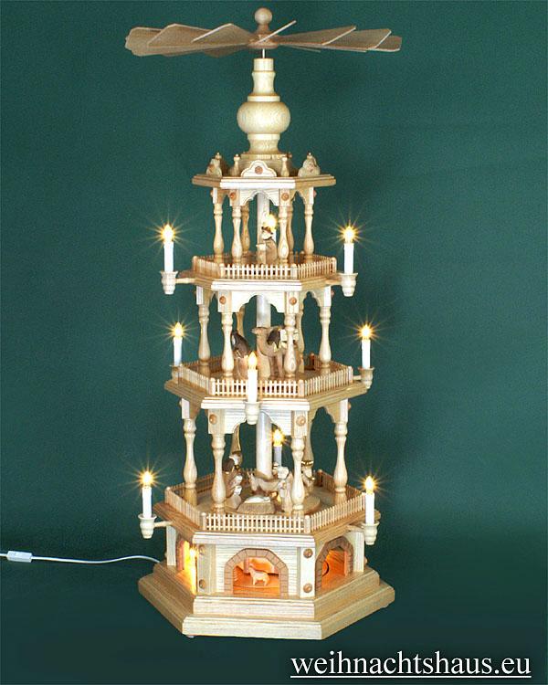 Seiffen Weihnachtshaus - 4 Stock Zaunpyramide 111 cm mit Krippefiguren braun - Bild 1