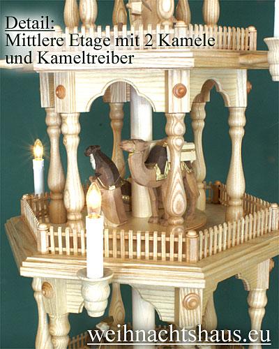Seiffen Weihnachtshaus - 4 Stock Zaunpyramide 111 cm mit Krippefiguren braun - Bild 3