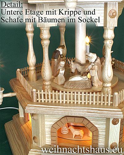 Seiffen Weihnachtshaus - 4 Stock Zaunpyramide 111 cm mit Krippefiguren braun - Bild 2