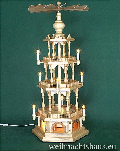 Seiffen Weihnachtshaus - 4 Stock Zaunpyramide 111 cm ohne Figuren mit Drehscheibe im Sockel - Bild 1
