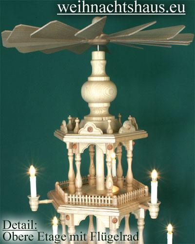 Seiffen Weihnachtshaus - 4 Stock Zaunpyramide 111 cm ohne Figuren mit Drehscheibe im Sockel - Bild 3