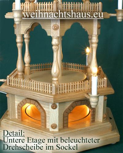 Seiffen Weihnachtshaus - 4 Stock Zaunpyramide 111 cm ohne Figuren mit Drehscheibe im Sockel - Bild 2