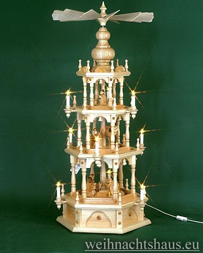Seiffen Weihnachtshaus - 3 Stock Stufenpyramide 109 cm mit Krippefiguren braun - Bild 1