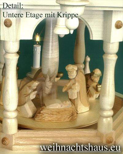 Seiffen Weihnachtshaus - 3 Stock Stufenpyramide 109 cm mit Krippefiguren braun - Bild 2