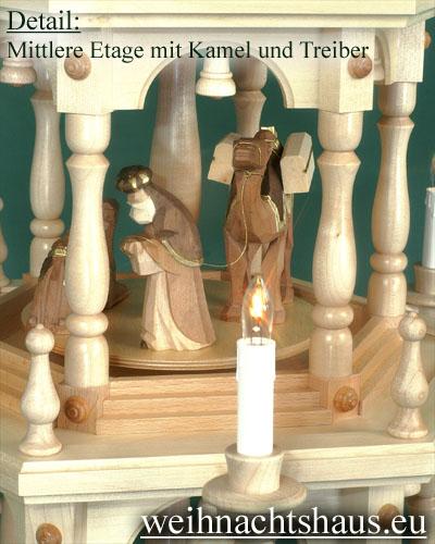 Seiffen Weihnachtshaus - 3 Stock Stufenpyramide 109 cm mit Krippefiguren braun - Bild 3