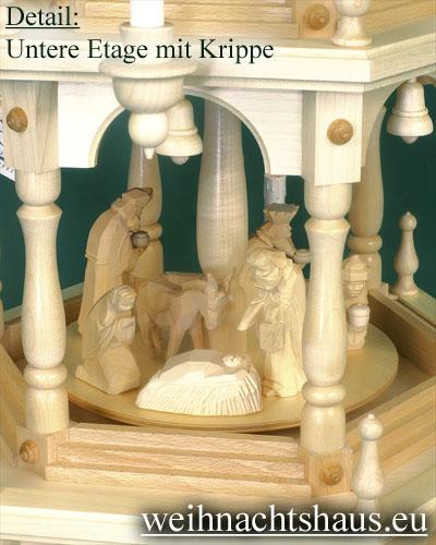 Seiffen Weihnachtshaus - 3 Stock Stufenpyramide 109 cm mit Krippefiguren natur - Bild 2