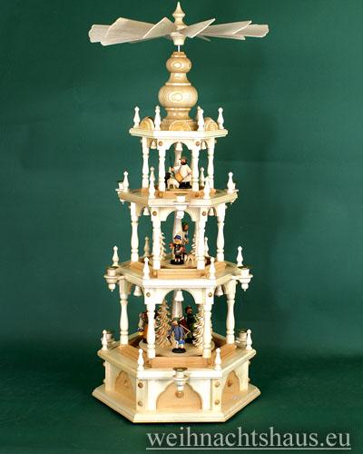 Seiffen Weihnachtshaus - 3 Stock Zaunpyramide 109 cm mit Waldfiguren und Bäume - Bild 1