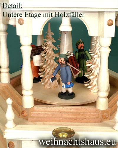Seiffen Weihnachtshaus - 3 Stock Zaunpyramide 109 cm mit Waldfiguren und Bäume - Bild 2