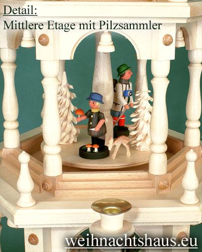 Seiffen Weihnachtshaus - 3 Stock Zaunpyramide 109 cm mit Waldfiguren und Bäume - Bild 3