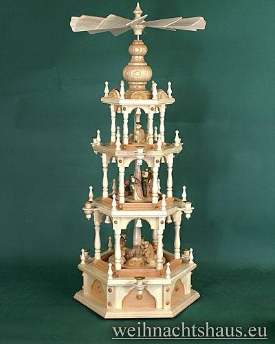 Seiffen Weihnachtshaus - 3 Stock Stufenpyramide 109 cm Wachskerzen mit Krippefiguren braun - Bild 1