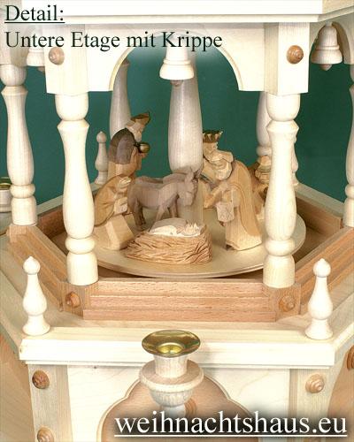 Seiffen Weihnachtshaus - 3 Stock Stufenpyramide 109 cm Wachskerzen mit Krippefiguren braun - Bild 2