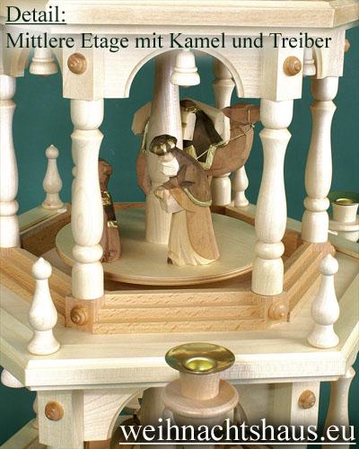 Seiffen Weihnachtshaus - 3 Stock Stufenpyramide 109 cm Wachskerzen mit Krippefiguren braun - Bild 3