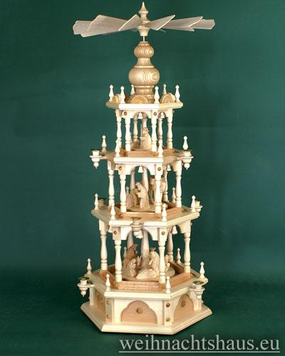 Seiffen Weihnachtshaus - 3 Stock Stufenpyramide 109 cm mit Krippefiguren natur - Bild 1