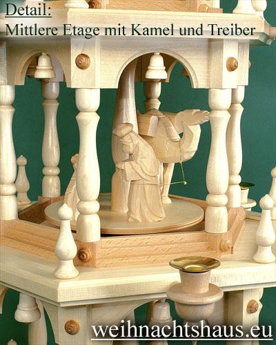 Seiffen Weihnachtshaus - 3 Stock Stufenpyramide 109 cm mit Krippefiguren natur - Bild 3