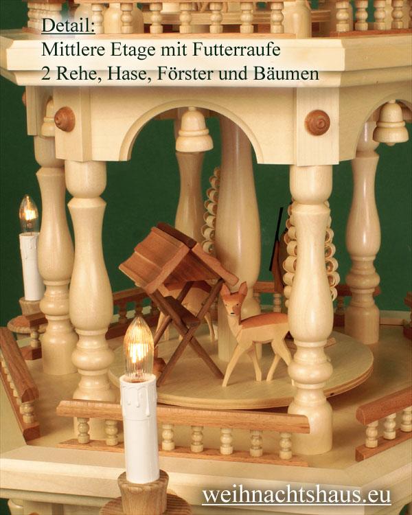 Seiffen Weihnachtshaus - 3 Stock Zaunpyramide 109 cm mit Waldfiguren und Spanbäume - Bild 2