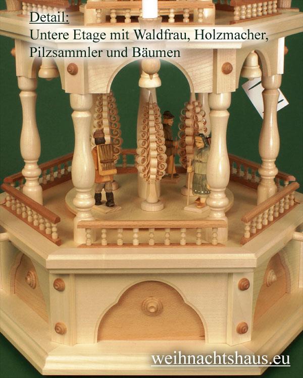 Seiffen Weihnachtshaus - 3 Stock Zaunpyramide 109 cm mit Waldfiguren und Spanbäume - Bild 3