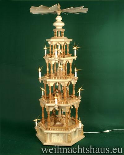 Seiffen Weihnachtshaus - 4 Stock Barockpyramide 139 cm mit Krippefiguren braun - Bild 1