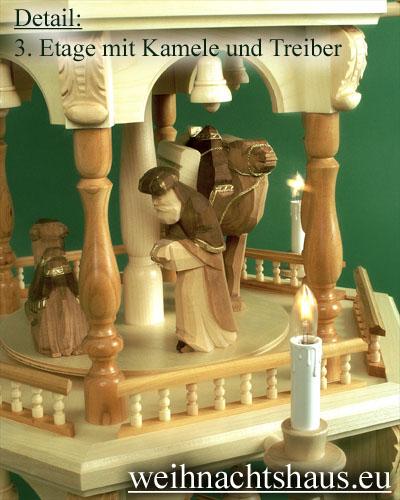Seiffen Weihnachtshaus - 4 Stock Barockpyramide 139 cm mit Krippefiguren braun - Bild 3