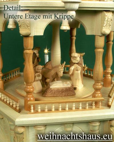Seiffen Weihnachtshaus - 4 Stock Barockpyramide 139 cm mit Krippefiguren braun - Bild 2
